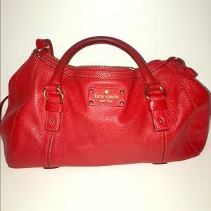 Auth. Kate Spade Leather cross body duffel bag